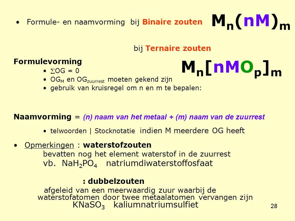 Mn(nM)m Mn[nMOp]m Formule- en naamvorming bij Binaire zouten